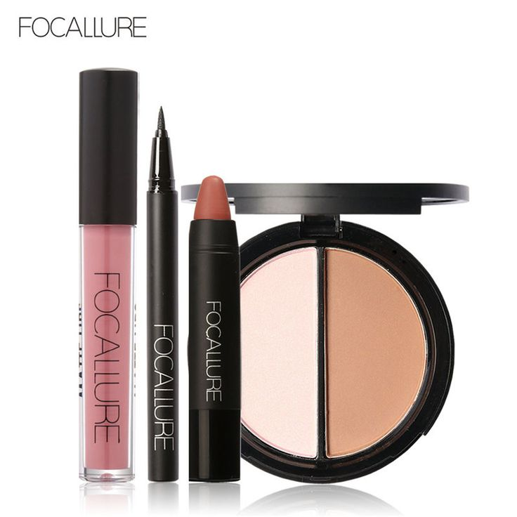 Focallure baru 4 pcs mudah lip makeup hitam eyeliner pensil matte lip gloss sexy matte lip sticker wajah bronzer highlighter palette