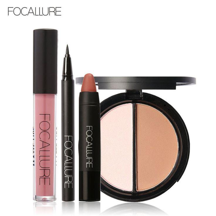 Focallure baru 4 pcs mudah lip makeup hitam eyeliner pensil matte lip gloss sexy matte lip sticker wajah bronzer highlighter palette