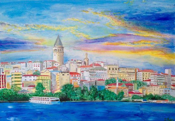 Galata tower 50#70 Canvas, Acrilyc/ #acrylic #istanbul #art # painting #landscape #city #fineart #blue #sea