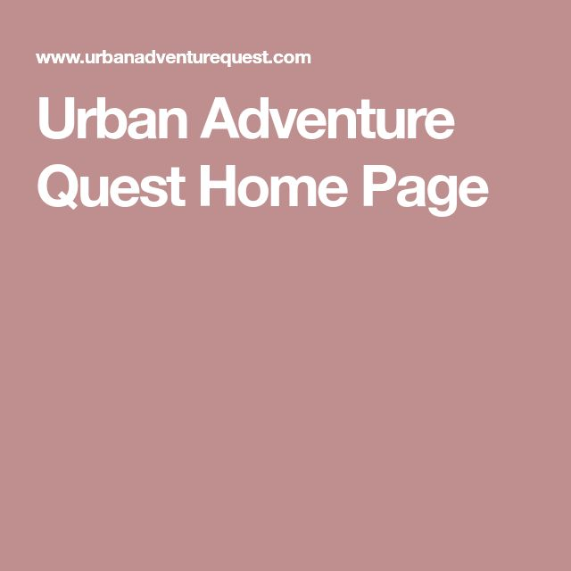Urban Adventure Quest Home Page