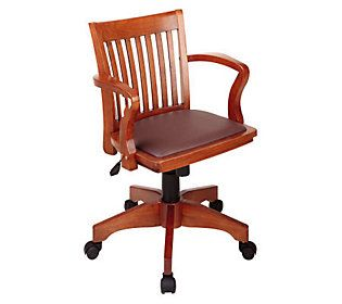 Deluxe Banker's Chair by Office Star - Fruit Wood/Brown