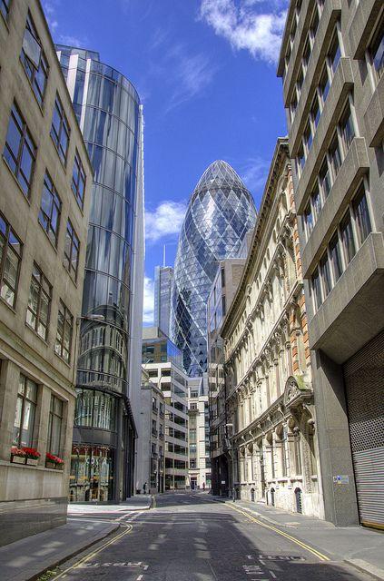 Alreet to Gherkin & Heron Tower from Billiter Street, London!