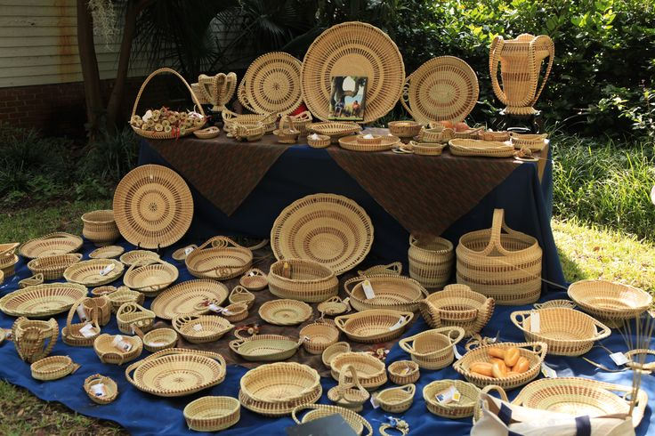 Beautiful sweetgrass baskets at the Coastal Discovery Museum in Hilton Head, South Carolina. Sweetgrass weaving is a craft that originated in the Sierra Leone region of West Africa. Behind-the-scenes shot from Getting Away Together, a new travel show for PBS member stations