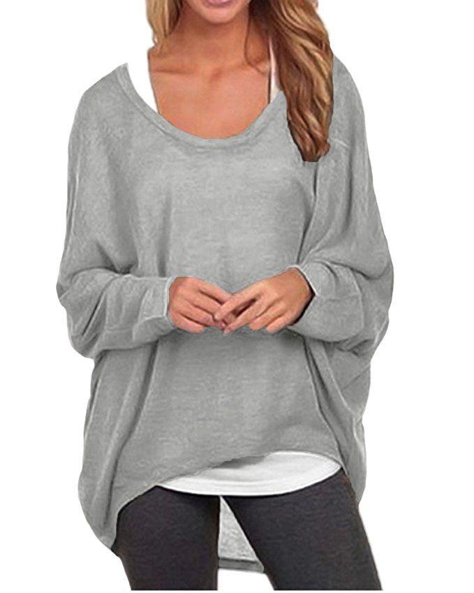 71217d0ff ZANZEA Women s Long Batwing Sleeve Loose Oversize Pullover Sweater ...