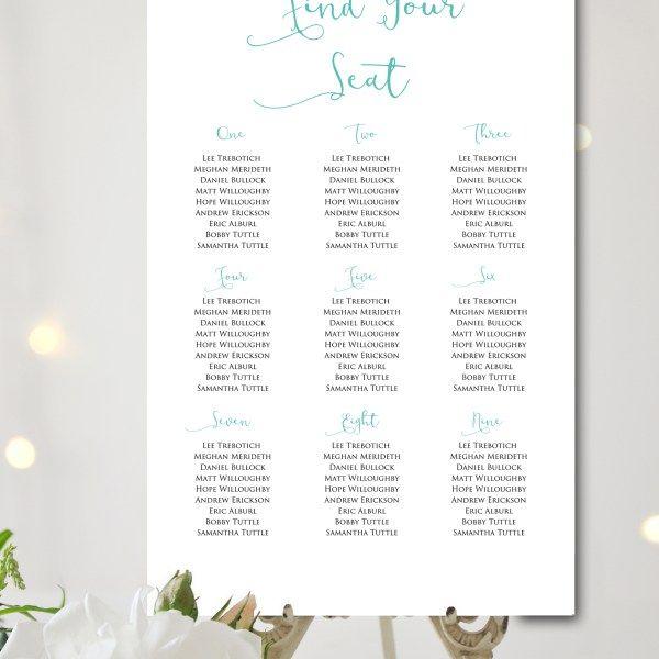 Printable Aqua Custom Wedding Seating Chart