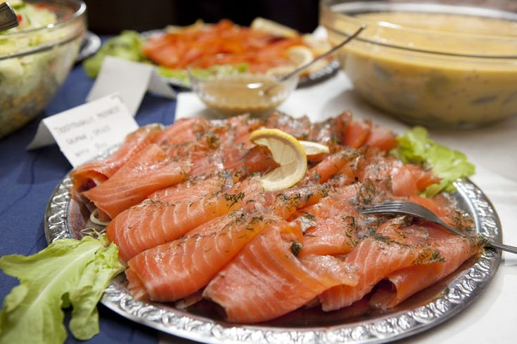 A mouthwatering platter of gravad lax (thin slices of cured salmon), a Swedish favourite.
