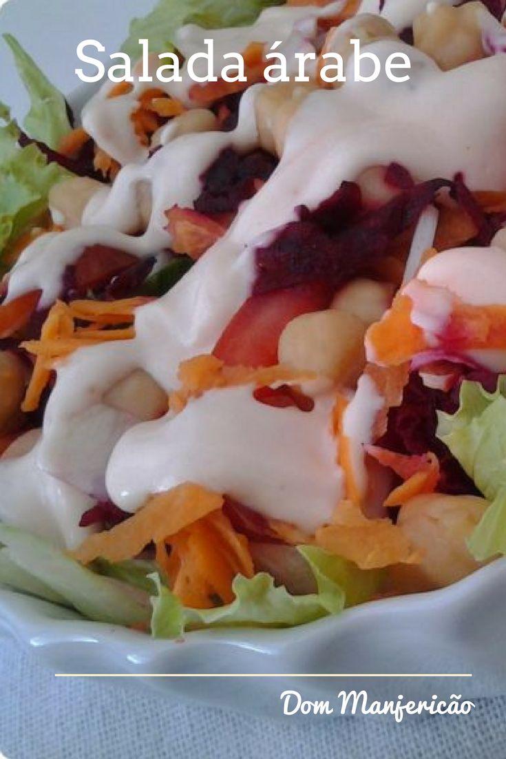 Salada árabe, cheia de cores e sabores com um molhinho delicioso