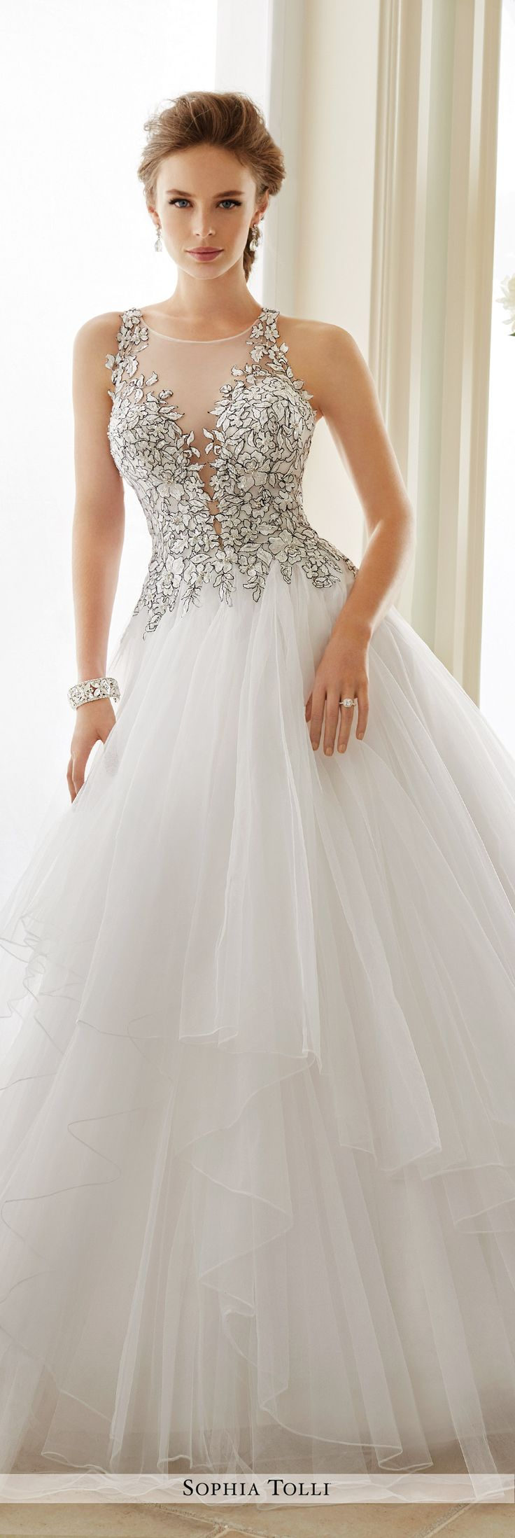 Sophia Tolli Fall 2016 Wedding Gown Collection - Style No. Y21655 Dolce Vita - lace sleeveless illusion tulle ball gown wedding dress