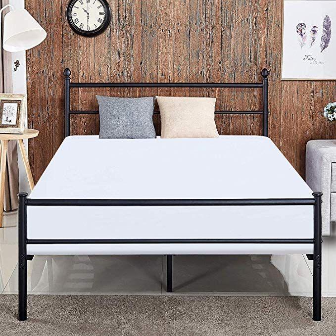 Amazon Com Vecelo Reinforced Metal Bed Frame Queen Size Platform