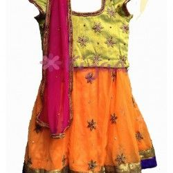 This lehanga comes with amazing color combo-Orange, Pink & green. Orange lehanga,  & Green Blouse Hand Embroidered with pink duppatta embellished with stones.