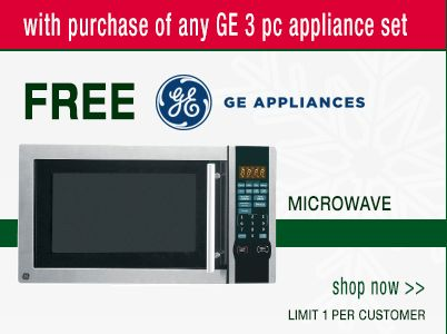 Get a free GE Appliances microwave when you purchase any GE 3-piece appliance set.