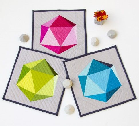 Geometric Quilt, in three colorstories (blue, pink, and green)! Designed by Art School Dropout.