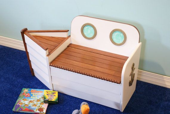 Wood Toy Box Toy ChestNautical Toy Box Bright by Adamzoriginals