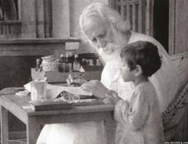 Rabindranath Tagore :) de família nobre indiana, nasceu na mansão Jorasanko, em Calcutá (Índia), aos 16 anos foi para Inglaterra estudar... Ao retornar para Índia, dedicou-se a atividades culturais. Chegou a criar uma escola, em 1901, dedicada ao ensino das culturas ocidentais e orientais, orientado pelo ideal de aproximação do Oriente e do Ocidente..