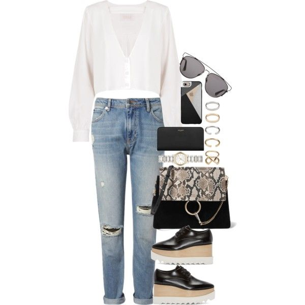 A fashion look from May 2016 featuring Stone_Cold_Fox blouses, Whistles jeans and STELLA McCARTNEY oxfords. Browse and shop related looks.