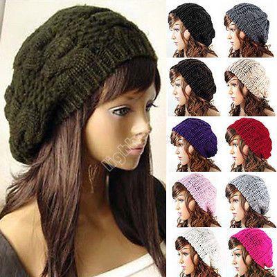 Women Ladies Warm Winter Beret Braided Baggy Beanie Knitted Crochet Hat SKI Cap