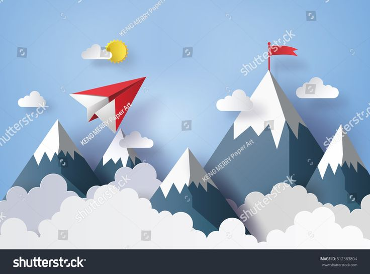 illustration of nature landscape and concept of business, plane flying on sky with cloud and mountain.design by paper art and craft style