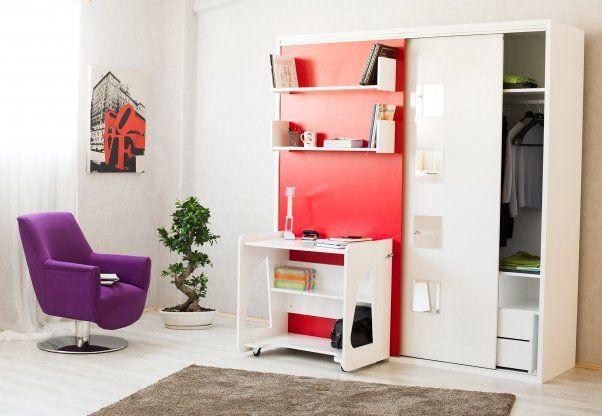 STUDİO 5 - Tek kişilik dikey açılır yatağı, çekmeceli ve yüklüklü geniş gardrobu, çalışma masası, kitaplığı ve dekoratif aynaları ile birlikte, işte size hareketli genç odası. Yatak yönü değişebilir.