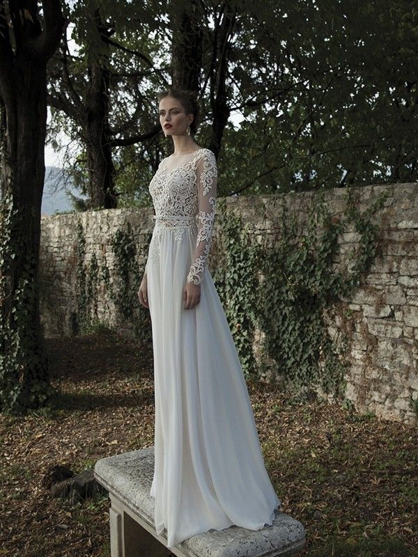 A-Line/Princess Scoop Long Sleeves Sweep/Brush Train Chiffon Lace Wedding Dresses