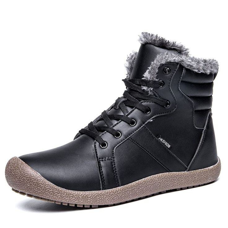 L-RUN Men's Fur Boots Waterproof Winter Snow Booties Outdoor Warm Black 8 M US #LRUN #mens