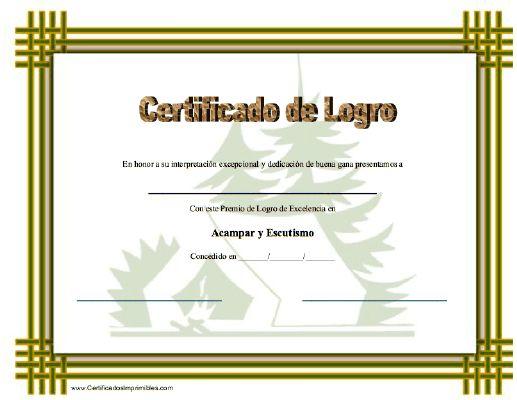 Certificado de Logro en Acampar y Escutismo para imprimir los certificados, gratis para descargar e imprimir
