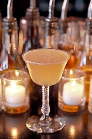 Thanksgiving Cocktail Recipe with apple cider, cognac, lemon juice, ginger syrup, sugar, rum & sherry