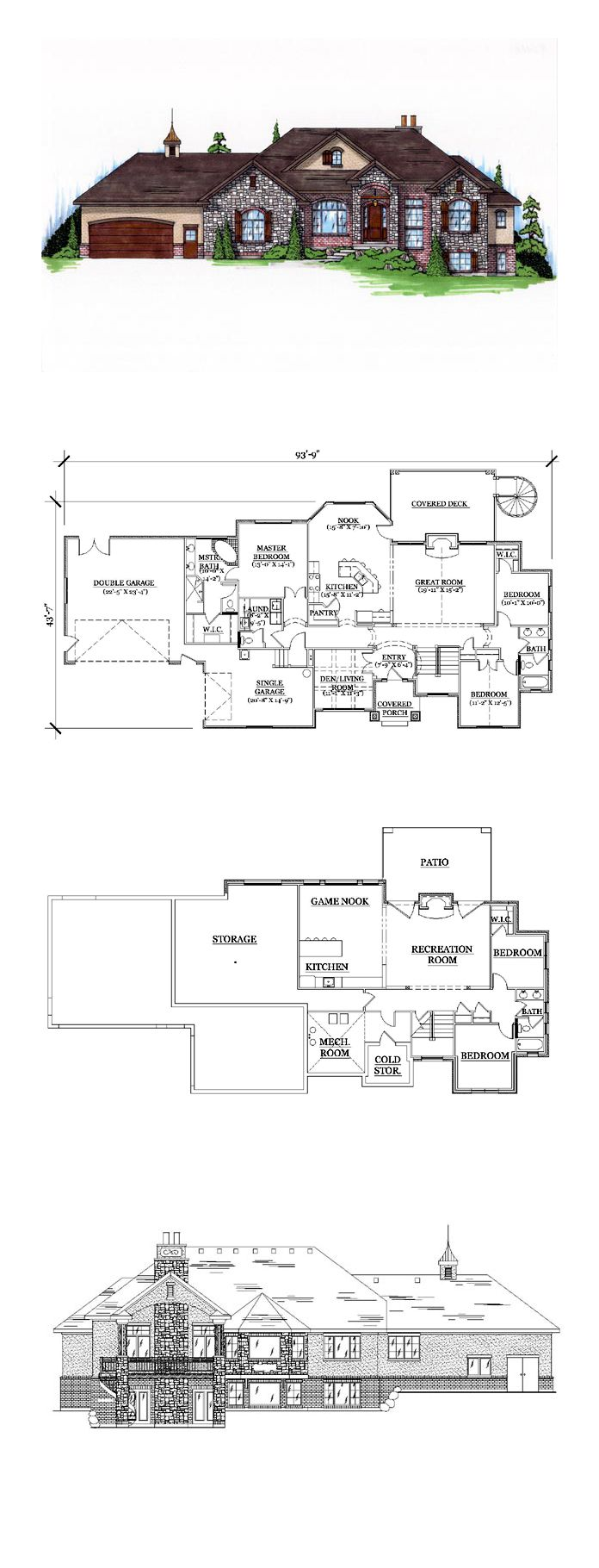 16 best house plans with finished basements images on pinterest cool house plan id chp 44969 total living area 2113 sq