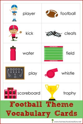 Free Football Theme Vocabulary Cards for Read! Build! Write! Mats