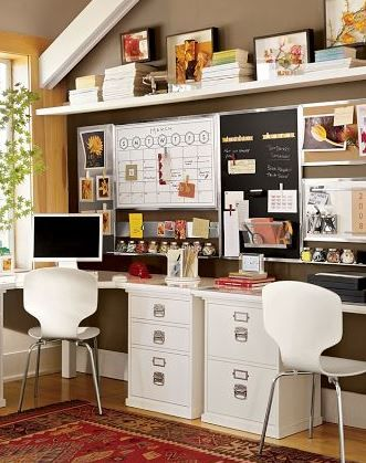 I could live in this office space...Pottery Barn knows how to make an office!!!