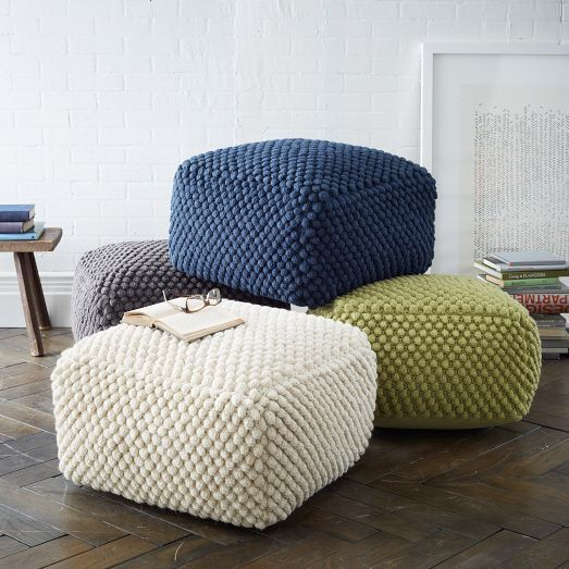 Crochet Blue/Green/Beige/Gray pouf-ottoman / Knit ottoman / Crochet footstool  Wonderful, square shaped pouf - for those who like natural materials. The