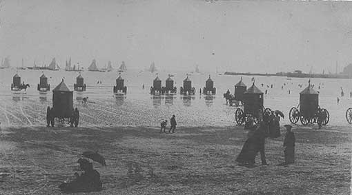 Weymouth bathing machines in the early 1900s