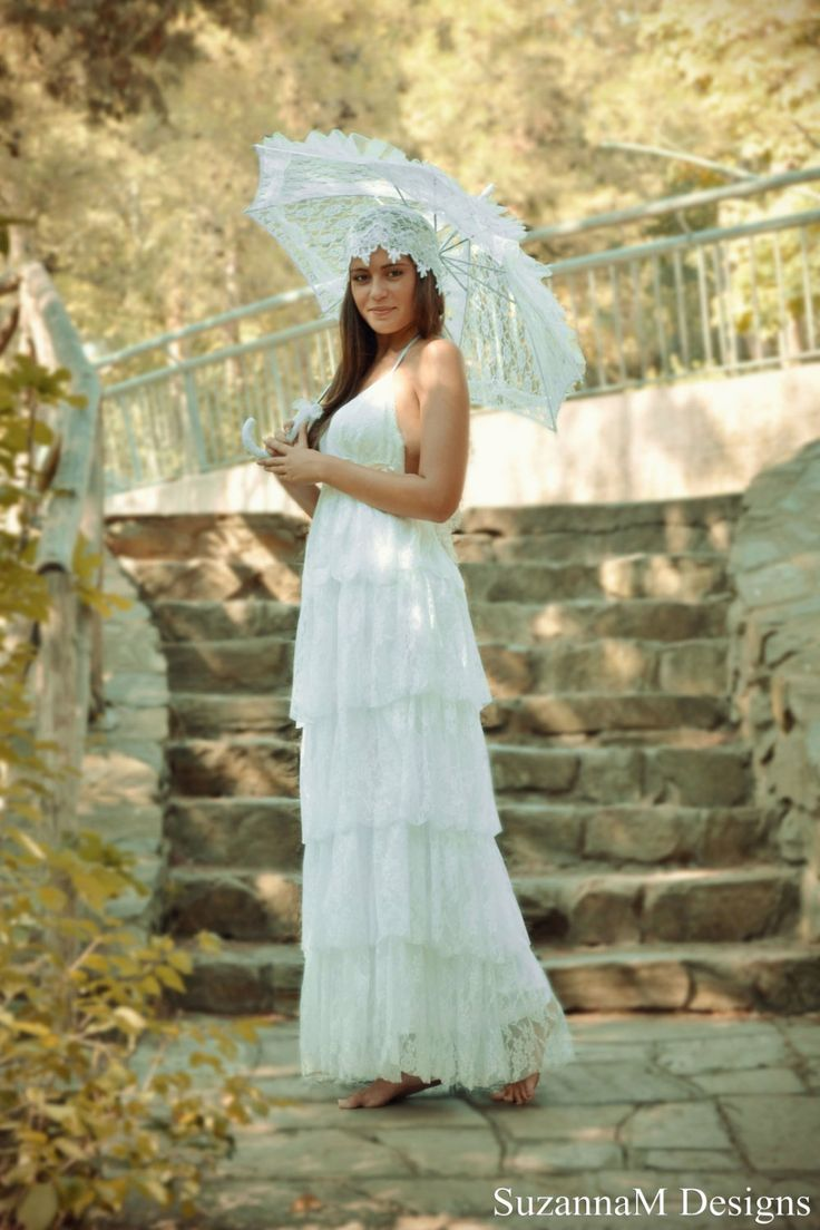 Lace Wedding Dress Boho Tulle Bohemian Gown Long White Bridal
