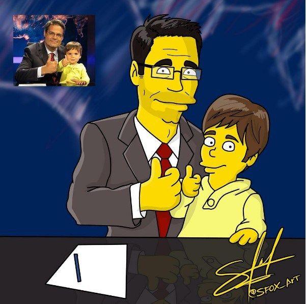 """¡Genial! Luis Chataing y su hijo también fueron """"simpsonizados"""""""