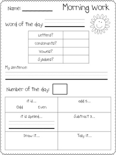 Today in First Grade...: Morning Work Freebie use 3 words from spelling words and one number a day.