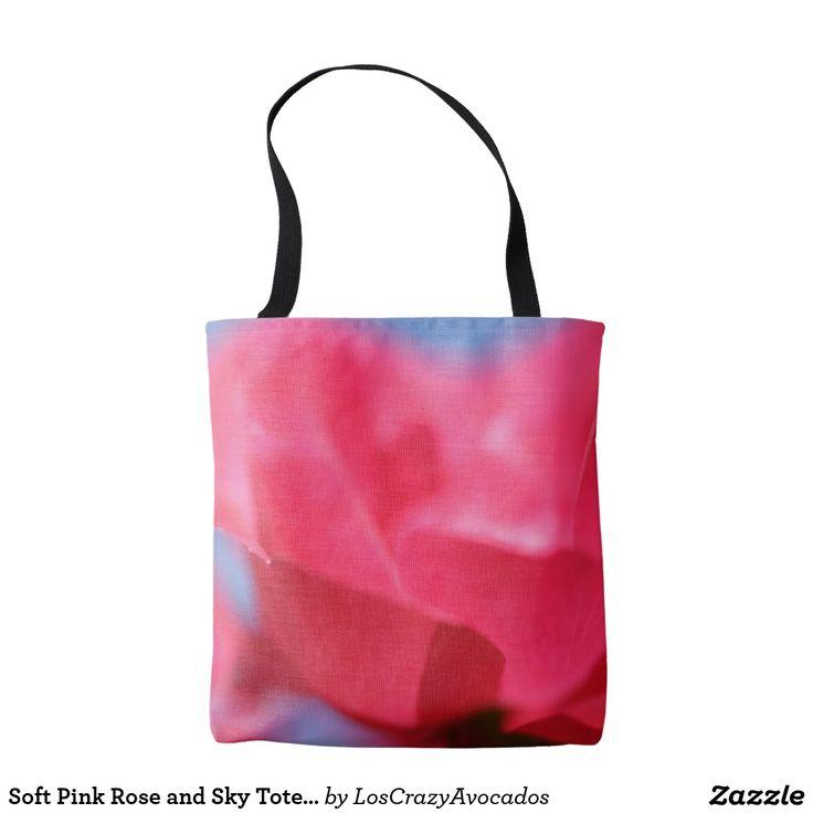 Soft Pink Rose and Sky Tote Bag