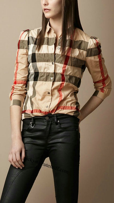 Creative Burberry Brit Check Short Sleeve Tshirt In Natural  Lyst