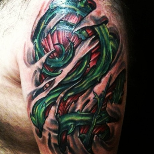 Customized#tattoos by Travis Brown of #fleshworks #tattoo Studio of #Olympia, WA #360-357-9969#bioorganic #flesh #tattoo