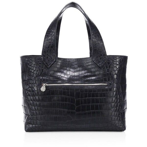 Ethan K Helen Crocodile Tote (£7,825) ❤ liked on Polyvore featuring bags, handbags, tote bags, crocodile handbags, purse tote bag, handbag purse, pocket tote bag and crocodile tote