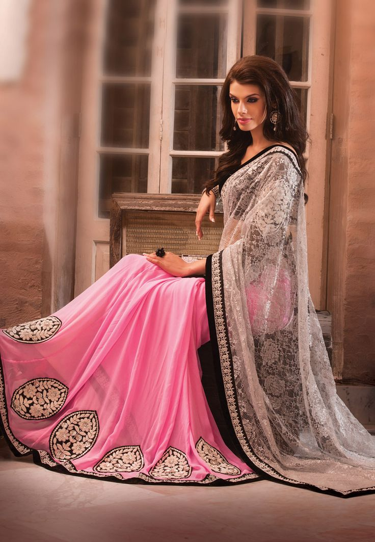 White Net Jacquard and Pure Georgette #LehengaStyleSaree with Blouse