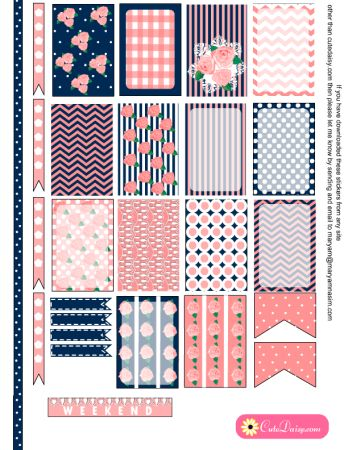 FREE Printable Sticker Kit for Planner in Pink and Blue Color for Happy Planner and ECLP [ in 6 Colors ]