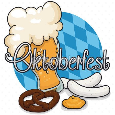 Poster with Some Oktoberfest Traditional Foods and Beer, Vector Illustration — Stock Illustration #124502536