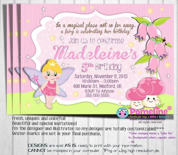 Printable fairy invitation Digital fairy by PomelineStudio Fairy - fresh birthday party invitation designs