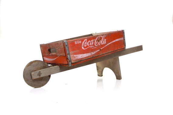 Coca cola vintage wagon wheelbarrow wheel barrel by TANGLeAndFoLd, $82.00
