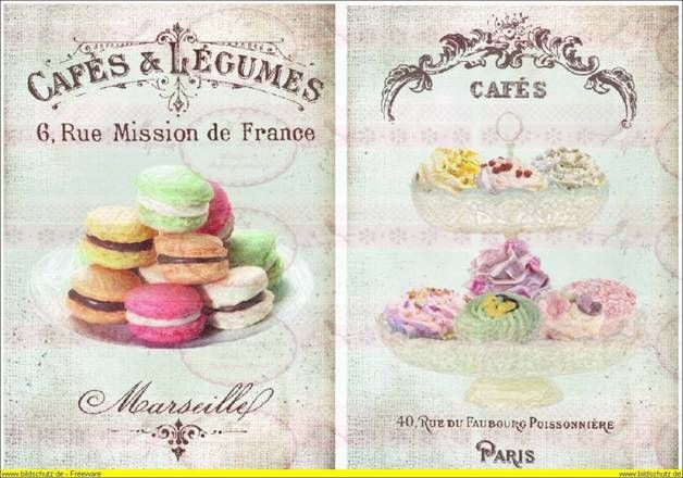 DIN A4 Vintage Bügelbild Cupcake kakao french