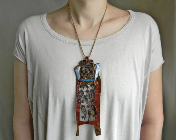 African leather necklace Huge Necklace with Raw by Elyseeart