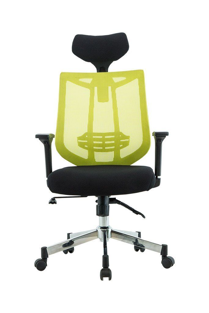 High Back Mesh Office Chair With Leather Effect Headrest HOME