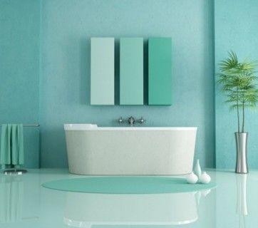 Blue teal - turchese e verde chiaro per il bagno - #interior #design #turquoise
