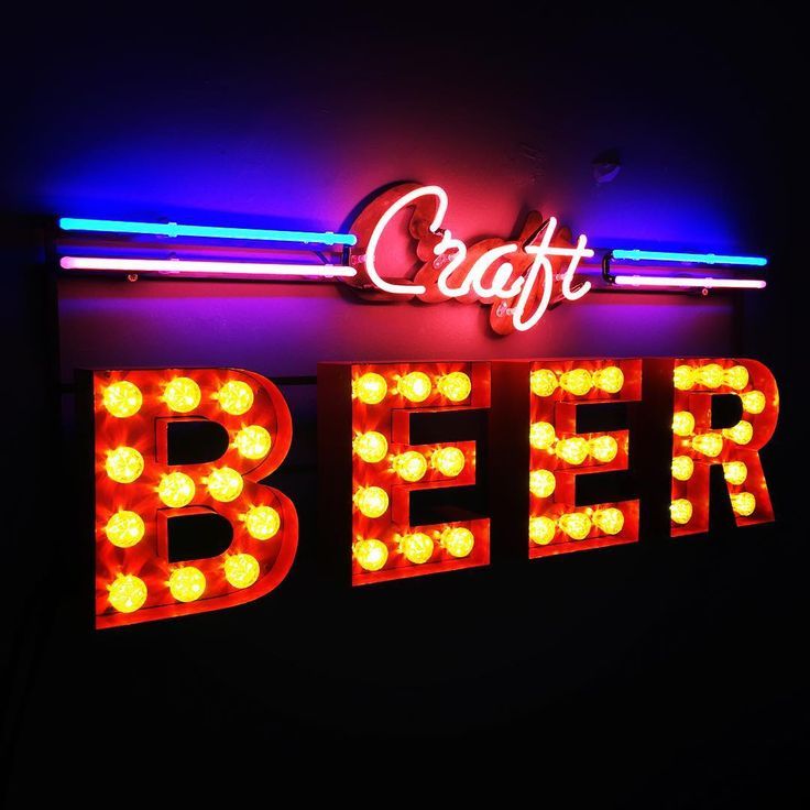 Craft Beer neon and bulb sign