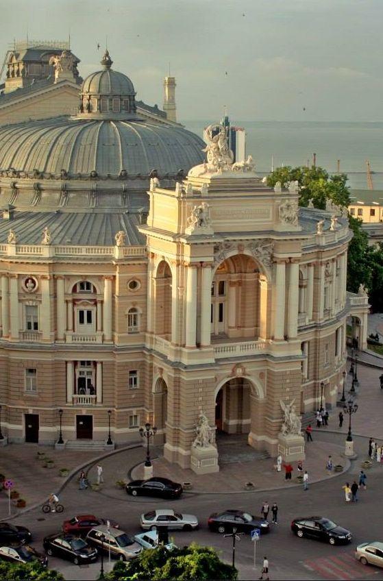 Exterior: Odessa Opera House in Ukraine Viennese architects, F. Felner and H. Helmer