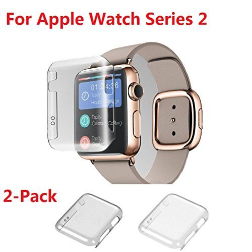 Apple watch Series 2 42MM Case  Monoy 2-Pack (ClearGrey) New Design Slim Clear 2nd PC Hard Screen Protector for iwatch Series 2 42mm 2016 (PC Hard Case)